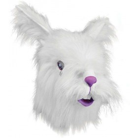 Rabbit Mask + White Fur (Animals Fancy Dress Masks)
