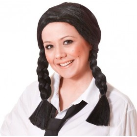 Schoolgirl Wig. Black (School Fancy Dress Wigs)