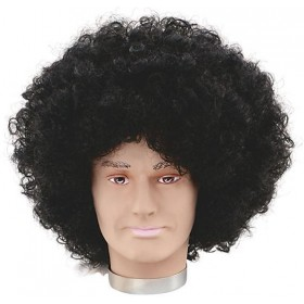 Jumbo Pop Wig. Black (1970S , Clowns Fancy Dress Wigs)
