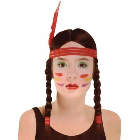 Native American Squaw Wig (Cowboys/Native Americans Fancy Dress Wigs)