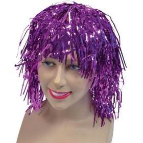 Tinsel Wig. Cerise (1970S Fancy Dress Wigs)