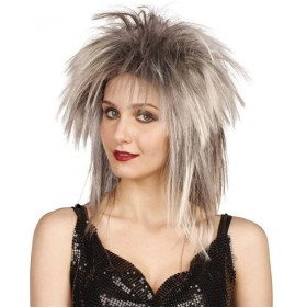 Tina Two Tone Wig. Grey/Black (1980S , 1970S Fancy Dress Wigs)
