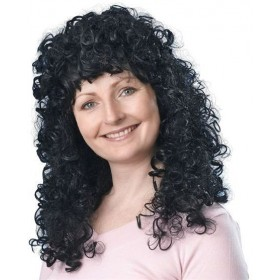 Curly Wig Long. Black Budget (1980S Fancy Dress Wigs)