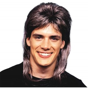 Mullet Wig Deluxe. Brown/Blonde (1980S Fancy Dress Wigs)
