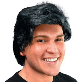 Mans Wig Side Parting. Black (Fancy Dress Wigs)
