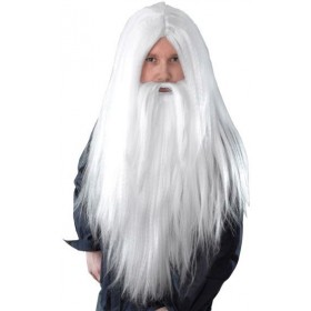 Wizard Wig Beard. Long White (Viking Fancy Dress Wigs)