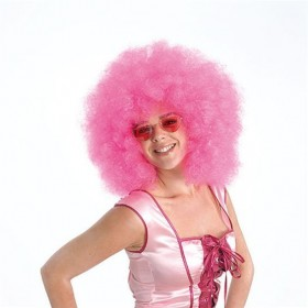Afro Wig. Mega Pink (1970S , Clowns Fancy Dress Wigs)