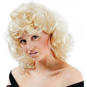 50'S High School Curly Wig. Blonde (School Fancy Dress Wigs)