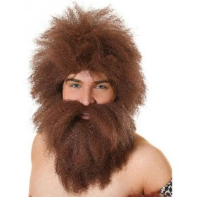 Caveman Wig + Beard Set (Cavemen Fancy Dress Wigs)