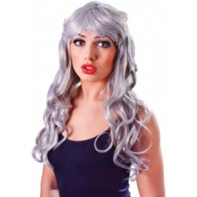 Ladies Temptress Gothic Wig Silver Grey  Fancy Dress Accessory