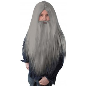 Wizard Wig + Beard Long Grey- Fancy Dress Halloween