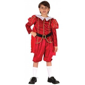 Boys Red Royal Tudor Prince Fancy Dress Costume