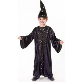 Boys Black (Wizard Costume  Deluxe) Fancy Dress Costume