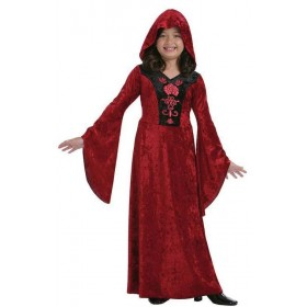 Girls Red Gothic Vampiress Halloween Fancy Dress Costume