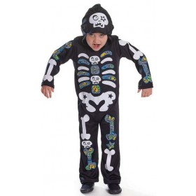 Boys Hooded Skeleton Boy With Colour Bones Halloween Fancy Dress Costume