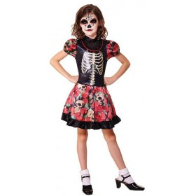 Girls Day Of The Dead Halloween Fancy Dress Costume