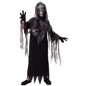 Boys Black Terror Reaper Halloween Fancy Dress Costume