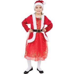 Girls Santa Girl Christmas Fancy Dress Costume
