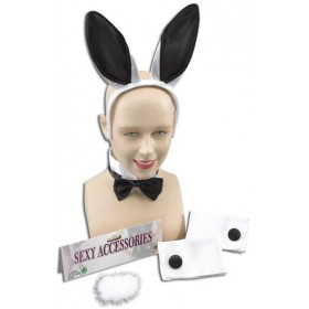 Bunny Girl Set. White/Black (Animals Fancy Dress Disguises)