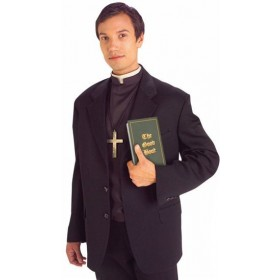 Priest Shirt Front With Collar (Vicars/Nuns Fancy Dress Disguises)