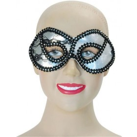 Silver Metallic Lace Domino (Fancy Dress Eyemasks)