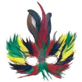 Feather Eye Mask Green/Red/Yellow (Fancy Dress Eyemasks)