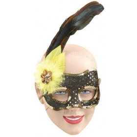 Black/Gold Sequin Face/Yellow (Fancy Dress Eyemasks)
