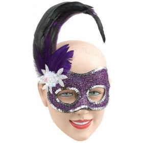 Purple Face Mask/Silver Sequins (Fancy Dress Eyemasks)