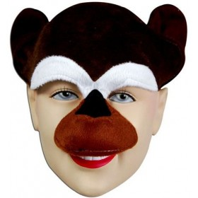 Chimp Half Face & Headband (Animals Fancy Dress Masks)