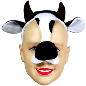 Cow Mask On Headband & Sound (Animals Fancy Dress Masks)