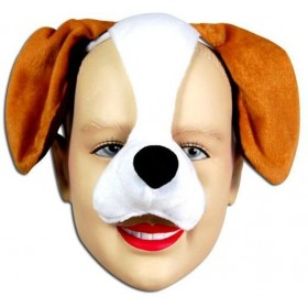 Dog Mask On Headband & Sound (Animals Fancy Dress Masks)