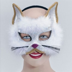 Glitter Cat Mask White On H'Band (Fancy Dress Eyemasks)