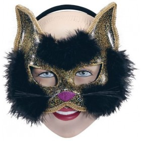 Glitter Cat Mask Black On H'Band (Fancy Dress Eyemasks)