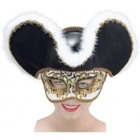 Gold Highwayman Mask & Hat (Fancy Dress Eyemasks)