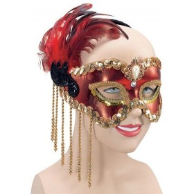 Red Satin Mask & Feathers (Fancy Dress Eyemasks)
