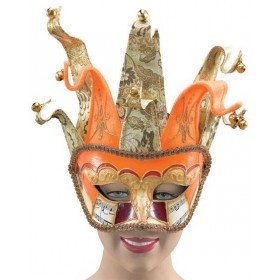 Venetian Jester. Orange/Gold (Fancy Dress Eyemasks)