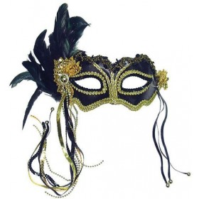 Black Metallic + Side Feather Mask (Fancy Dress Eyemasks)