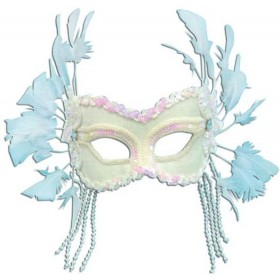 White Velvet Mask+Feathers On H'Band (Fancy Dress Eyemasks)