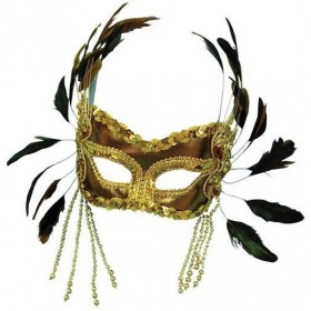 Gold Velvet Mask + Feathers On H'Band (Fancy Dress Eyemasks)
