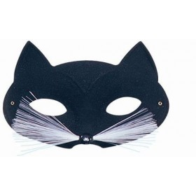 Cat Domino Eye Mask. Black Fancy Dress Eyemask