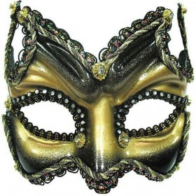 Half Face On Headband. Black/Gold (Fancy Dress Eyemasks)