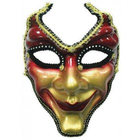 Full Face Mask. Red/Gold (Fancy Dress Eyemasks)