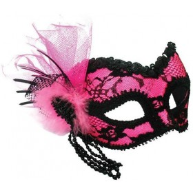 Pink Mask + Black Lace Decoration (Fancy Dress Eyemasks)