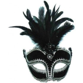 Black Velvet Mask / Tall Feather (Fancy Dress Eyemasks)