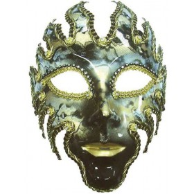 Glazed Full Face Mask. Black/Gold (Fancy Dress Eyemasks)