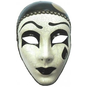Mime Mask With Tear Fancy Dress Eyemask