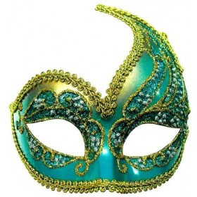 Decorative Half Mask. Turquoise/Gold (Fancy Dress Eyemasks)