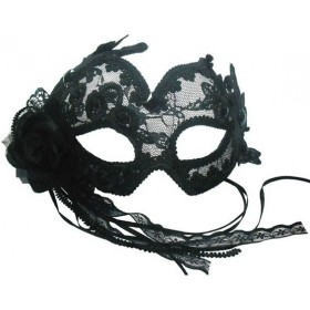 Transparent Flowery Black Fancy Dress Eyemask