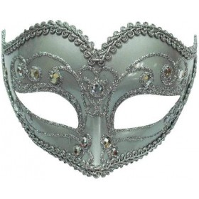 Jewelled Party Mask. Silver (Fancy Dress Eyemasks)
