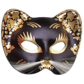 Black/Gold Cat Mask (Fancy Dress Eyemasks)